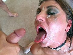 This orally crazed babe gets a blowjob gangbang when she drops to her knees and sucks several cocks then swallows all their cum.