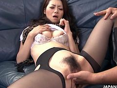 Get excited by watching this Japanese babe, with a hairy coochie wearing nylon stockings, while she shares a food fetish with a dirty man.