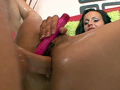 Fuckable brunette gets her tight ass hole invaded by well endowed stud