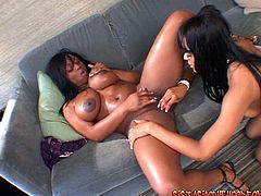 Extremely sexy ebony bitches Jada Fire and Eve Madison have fun