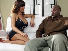 Watch this hot scene where the sexy milf Lisa Ann chats with this guy before they get ready to have interracial sex.
