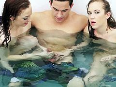 How lucky are those guys? Four horny chicks with them in a jacuzzi. They are doing some crazy things there like sucking underwater. I tried that and i can tell that nothing compare with that. Those girls are so excited to make sex in jacuzzi. Water increasing the pleasure for them. Click to see all this crazy party!