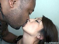 This lovely couple is horny for a hardcore interracial pounding. The Asian chick gives the black huge cock a rough blowjob and gets fucked hardcore in orgasm.