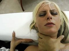 White Angel gets her mouth fucked good and hard