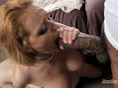 Press play on this amazing interracial scene and watch the beautiful blonde Krissy Lynn being drilled by a black monster cock while her man watches.