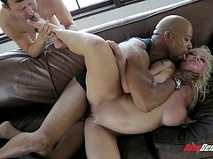 Make sure you get a load of this hardcore interracial scene where the beautiful blonde Leya Falcon is drilled by a black monster cock while her cuckold man watches.