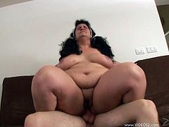 BBW brunette porn star cleans cock in her mouth before getting her fat juicy beaver hard cock fucked and taking cum in her mouth