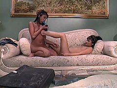 Nubile and hot Asian lesbian chicks with natural tits licking pussy and insert sex toys deep inside wet juicy pink cunts on the couch