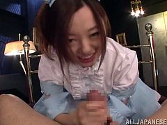 Click to watch this Japanese brunette, with a nice ass wearing a maid uniform, while she goes hardcore with a horny fellow and moans loudly.