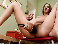 Brunette shows every inch of her body before her plays with herself on cam