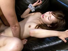 Beautiful Japanese lady with small tits gets cozy with her guy before getting her juicy pussy penetrated hardcore missionary