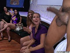 This is about how ladies are partying. They payed a stripper to make a good show for them. But for this horny bitches is not enough to see the guy naked. They want to suck his big black cock. He puts some whipped cream on his toy and gave it to them. Every one of this sluts wants to make him cum. Who will be the lucky who receives his cumshot?