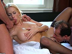 Stacy is a horny MILF that loves that cock. She ends up getting double penetrated during a threesome and takes a sticky creampie.