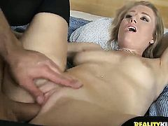 Blonde Michelle Moist tries her hardest to make hot guy bust a nut with her mouth