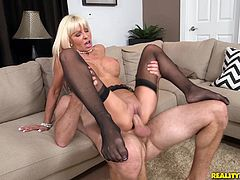 Get a load of this hardcore video where the horny blonde babe Kasey Storm is fucked by a guy while she wears stockings.