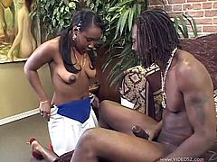 Gorgeous ebony with long hair gives a big black cock as superb blowjob then enjoys being nailed hardcore in a close up shoot