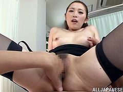 Curvy Asian pornstar in a miniskirt ecstatic as she gives a terrific blowjob then moans as he fingers her hairy pussy before drilling her missionary
