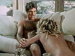 Voracious blonde mom Ginger Lynn is throat fucked in hardcore retro porn clip