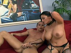 Talon and busty brunette mom Ava Lauren, wearing fishnet stockings and high heels, have fervent oral sex indoors. After that Ava sits down on Talon's dick and they fuck in the cowgirl pose.