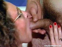 Take a look at this hardcore scene where this sexy babe sucks on her man's hard cock before being fucked silly.