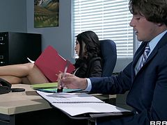 Gorgeous tattooed Asian brunette with big tits gives a superb blowjob then yells as she gets drilled hardcore in the office