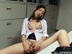 Skinny solo model with long hair in miniskirt gets cozy and start masturbating passionately while displaying her sexy thighs