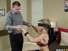 Brandi Love is fucked by a guy after taking off her blindfold