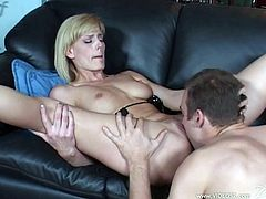 Marvelous horny cougar with natural tits unpins her attire before giving her he a blowjob and getting feasted hardcore on a sofa