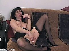 Watch this hot solo scene where this horny blonde masturbates with a dildo wearing sensual lingerie as you get a serious boner.