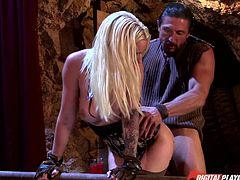 Blondie Stevie is here to help her guy that was hiding in the mine. She does everything she knows to help him out, including bending over and giving him her sweet ass. The dude grabs her booty and shovels his cock deep in her firm butt, drilling her nice and deep. Maybe we are going to see her cum filled too