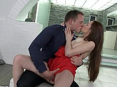 Make sure you take a look at this amazing hardcore scene where the slutty brunette Stacy Snake deep throats a guy's big cock before being drilled by this guy.