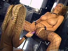 Charming pigtails lesbian with long hair in fishnets enjoys her juicy pussy being licked before getting drilled with a huge sex toy