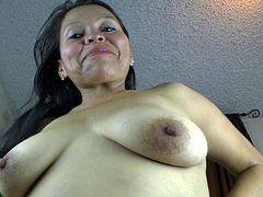 Dirty hoe slut Vilma is a mature lady that loves to screw around. she takes off her top and shows off her sagging, natural boobs. Watch as she pinches her dark nipples. She takes off her skirt and shows her panties and saggy belly.
