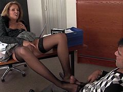 Have a look at this hardcore scene where the slutty Lauryn May ends up with a mouthful of semen after sucking and riding one of her coworkers in the office.