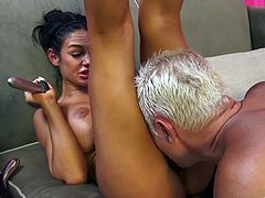 Check out this amazing hardcore scene where the sexy Angelina Valentine is eaten out by this guy before he nails her.