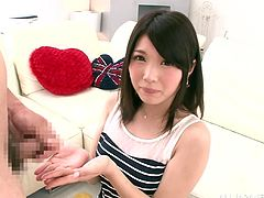 Hot Japanese girl in Miniskirt likes to be in control she decides to give a terrific Blowjob her lovers hard cock and sucks it in a Clothed sex Cumshot