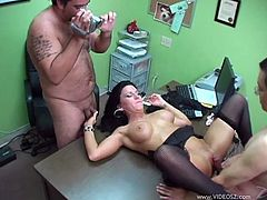 Stunning raven-haired MILF with big juicy boobs gets her soaking slit eaten and pounded mish on the table. Thereafter she gets it drilled doggystyle.
