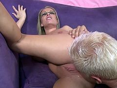Make sure you check out this hardcore video where the sexy blonde Jessica Moore shows off her big natural tits before being fucked.
