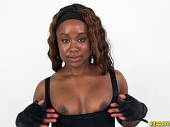 Don't you just love big round chocolate asses? If you do then stick around and see this one! This filthy black whore has no self esteem, just as we like them and she shows that ass like a pro before taking care of a hard white cock. Damn, that booty needs some milk, will the white boy going to have enough for her?