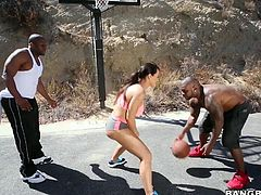 Wanna see a big booty milf get tag teamed by two hung black studs? Watch this video then and you'll see Lisa play some basketball with a couple of ebony men. She gets tired of sports and wants to do something she enjoys, like sucking cock and they're more than happy to let her blow both of them.