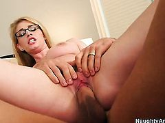 Johnny Castle plays with dripping wet bush of Allie James before he fucks her hard