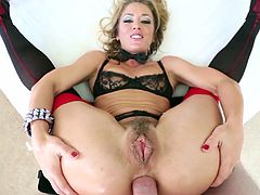 Beautiful gaping cougar in high heels drills her asshole using multiple sex toys before getting feasted hardcore in a close up shoot