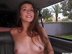 This sexy Georgia state student is picked up by the bang bus for some kinky action. The hunk in the back convinces the cutie to take her shirt off and show those cute tits. He plays with her boobs and licks them, and then she flashes her cunt. She grabs his cock, and she is ready to get nasty.