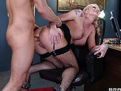 Horny chubby in glasses enjoys her tight anal hole being fingered before getting her shaved pussy feasted hardcore in the office