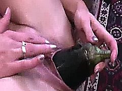 Horny amateur wife takes a hard double fisting monster dildos and huge vegetables in her cavernous hole