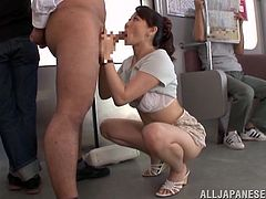 A gorgeous Japanese cougar with long hair, beautiful natural tits and a hot body enjoys licking and sucking a stranger's huge cock on a train.