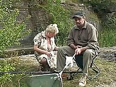 Old horny Eva loves fishing and fucking