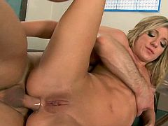 Trashy blonde honey Amy Brooke gets butt fucked and facialized in the class room.See how this sexy bubble butt bitch sucks and gets her ass fucked on the desk.