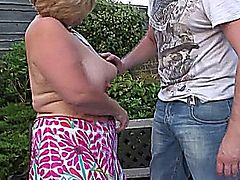mature, granny, bbw, outdoor,