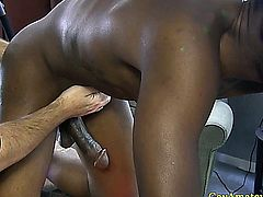 Black guy cumming from gay pal fingering his ass just right